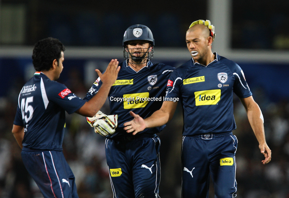 Andrew Symonds Celebrates Wiht Team Mates Cameron White Wicket During The Indian Premier League - 46th match Twenty20 match | 2009/10 season Played at Vidarbha Cricket Association Stadium, Jamtha, Nagpur 12 April 2010 - day/night (20-over match)