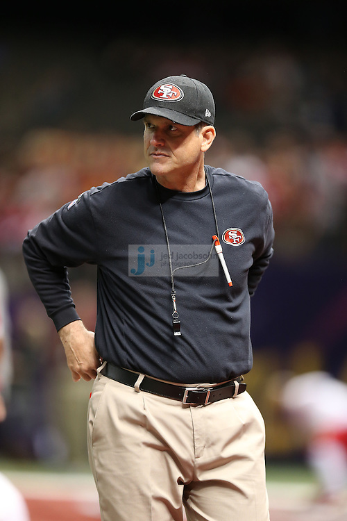 Head coach Jim Harbaugh of the San Francisco 49ers looks on against the Baltimore Ravens during the NFL Super Bowl XLVII football game in New Orleans on Feb. 3, 2013. The Ravens won the game, 34-31.  (Photo by Jed Jacobsohn)