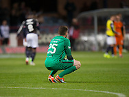 August 9th 2017, Dens Park, Dundee, Scotland; Scottish League Cup Second Round; Dundee versus Dundee United; Dundee United's Harry Lewis in despair at the end