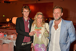 Left to right, CONNOR HIRST, his mother MAIA NORMAN and KAI PEETERS at an Evening of Riviera Inspired Glamour in aid of CLIC Sargentheld at Sketch, 9 Conduit Street, London on 25th January 2016.