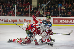 13.3.2018, Stadthalle, Klagenfurt, AUT, EBEL, EC KAC vs HCB Südtirol, 3. Viertelfinalspiel Playoff, im Bild Chris DeSousa (HCB-Südtirol Alperia, #28), Andrew Kozek (EC KAC, #61), Robin Gartner (HCB-Südtirol Alperia, #5) // during the Erste Bank Eishockey League 3rd Quaterfinal match between EC KAC vs HCB Südtirol at the City Hall in Klagenfurt, Austria on 2018/03/13. EXPA Pictures © 2018, PhotoCredit: EXPA/ Gert Steinthaler