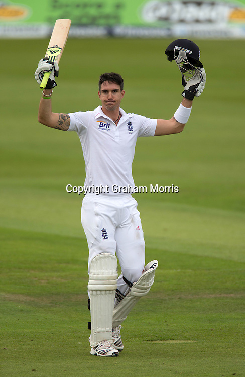 Kevin Pietersen celebrates his century during the second Investec Test Match between England and South Africa at Headingley, Leeds. Photo: Graham Morris (Tel: +44(0)20 8969 4192 Email: sales@cricketpix.com) 04/08/12