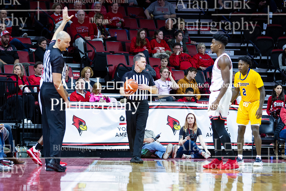 NORMAL, IL - December 07: Gene Grimshaw prepares to have the ball in bounded but action is held up by Jeff Malham during a college basketball game between the ISU Redbirds and the Morehead State Eagles on December 07 2019 at Redbird Arena in Normal, IL. (Photo by Alan Look)