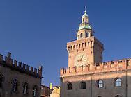 The clocktower in Piazza Maggiore<br /> Bologna, Italy