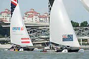 Emirates Team New Zealand. Day two of the Extreme Sailing Series regatta being sailed in Singapore. 21/2/2014