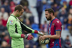 March 4, 2018 - Valencia, Valencia, Spain - Pau Lopez (L) of RCD Espanyol touches the ball next to Morales of Levante UD during the La Liga match between Levante UD and RCD Espanyol at Ciutat de Valencia on March 4, 2018 in Valencia, Spain  (Credit Image: © David Aliaga/NurPhoto via ZUMA Press)