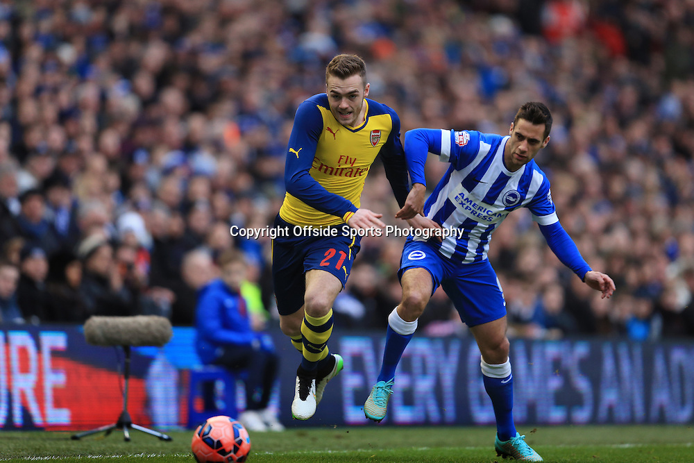 25 January 2015 - The FA Cup Fourth Round - Brighton v Arsenal - Calum Chambers of Arsenal tangles with Sam Baldock of Brighton & Hove Albion - Photo: Marc Atkins / Offside.