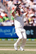 Mitch Marsh reacts to a drop catch during the Magellan fourth test match between Australia v England at  the Melbourne Cricket Ground, Melbourne, Australia on 26 December 2017. Photo by Mark  Witte.