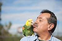 Mature man with parrot on shoulder kissing