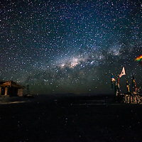 The milky way is seeing in the world's largest salt flat, Salar de Uyuni in Bolivia. Photographer: Bernardo De Niz