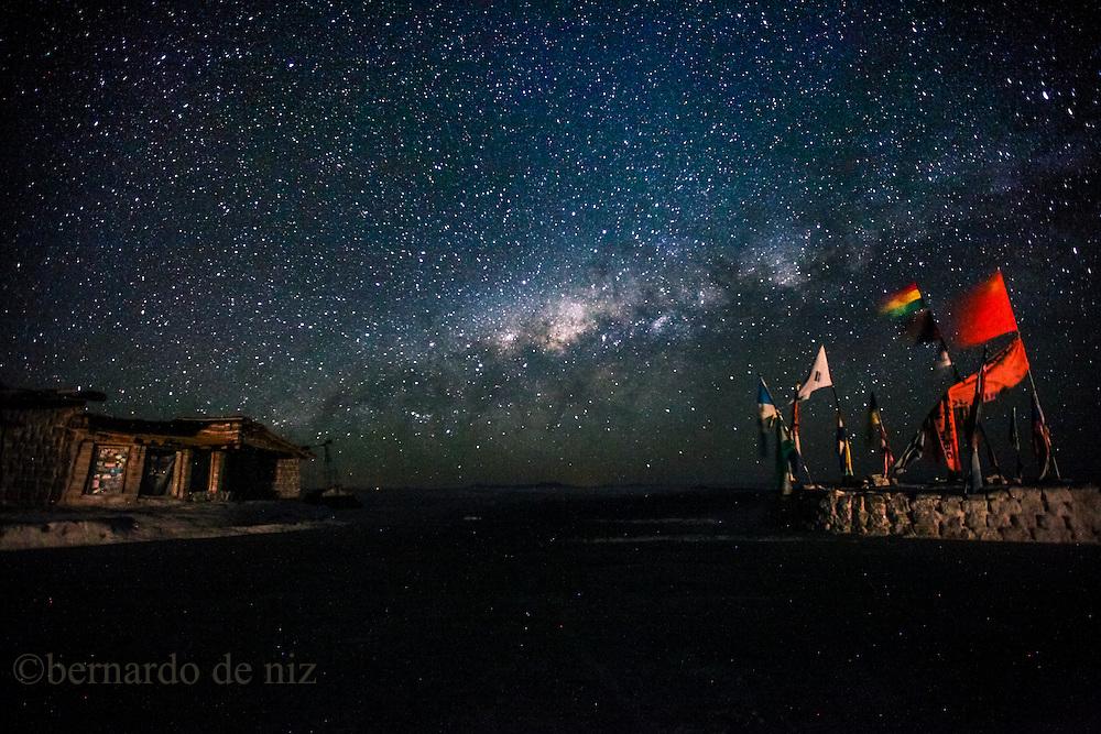 The milky way is seeing in the world's largest salt flat, Salar de Uyuni in Bolivia. Photographer: Bernardo De Niz