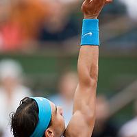 08 June 2007: Spanish player Rafael Nadal serves to Serbian player Novak Djokovic during the French Tennis Open semi final won 7-5, 6-4, 6-2, by Rafael Nadal over Novak Djokovic on day 13 at Roland Garros, in Paris, France.
