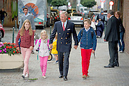 King filip of belgium brings to school their children Princess Elisabeth  , Prince Gabriel  and Prin