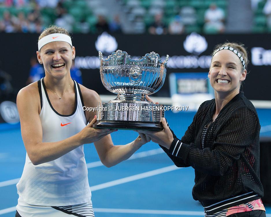 BETHANIE MATTEK-SANDS (USA) und LUCIE SAFAROVA (CZE),Doppel Sieger,Praesentation<br /> <br /> Australian Open 2017 -  Melbourne  Park - Melbourne - Victoria - Australia  - 27/01/2017.
