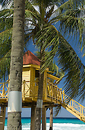 A life guard hut on the beach in Alleynes Bay on the West Coast of Barbados