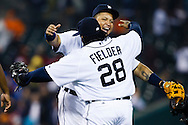 April 28, 2013; Detroit, MI, USA; Detroit Tigers third baseman Miguel Cabrera (24) and first baseman Prince Fielder (28) celebrate after the game against the Atlanta Braves at Comerica Park. Detroit won 8-3. Mandatory Credit: Rick Osentoski-USA TODAY Sports