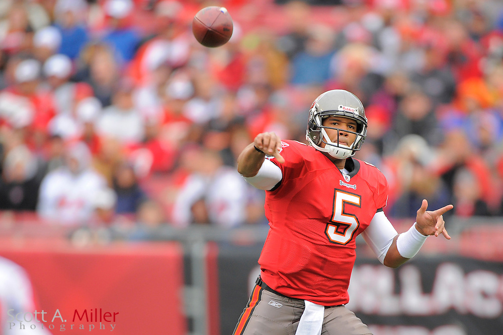 Jan. 3, 2010; Tampa, FL, USA; Tampa Bay Buccaneers quarterback Josh Freeman (5) in action during the Bucs game against the Atlanta Falcons at Raymond James Stadium. ©2009 Scott A. Miller