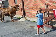 Stock photo of a child photographing a long horn bull at Fort Worth Stock Yards sign in Fort Worth, Texas.