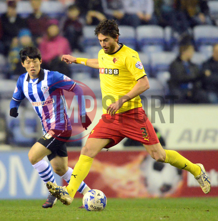 Watford's Gianni Munari in action - Photo mandatory by-line: Richard Martin-Roberts/JMP - Mobile: 07966 386802 - 17/03/2015 - SPORT - Football - Wigan - DW Stadium - Wigan Athletic  v Watford - Sky Bet Championship