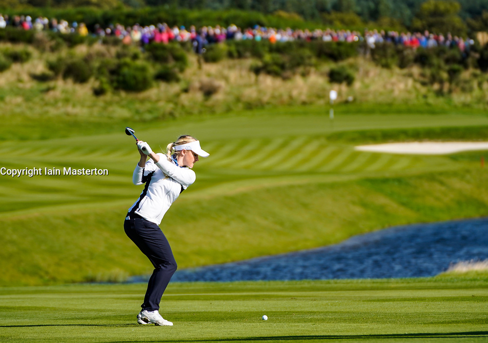 Solheim Cup 2019 at Centenary Course at Gleneagles in Scotland, UK. Charley Hull of Europe plays approach to 9th hole during the Friday Morning Foursomes.