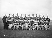 Galway team before the All Ireland Senior Gaelic Football Championship Final, Cork v Galway in Croke Park on the 7th October 1956. Galway 2-13 Cork 3-7. (Runners up).P Tyres, P Driscoll, D O'Sullivan (capt), D Murray, P Harrington, D Bernard, M Gould, S Moore, E Ryan, D Kelleher, C Duggan, P Murphy, T Furlong, N Fitzgerald, J Creedon, Sub, E Goulding for Murphy.