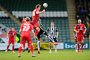 York City's Dave Winfield heads the ball out of danger during the Sky Bet League 2 match between Plymouth Argyle and York City at Home Park, Plymouth, England on 28 March 2016. Photo by Graham Hunt.