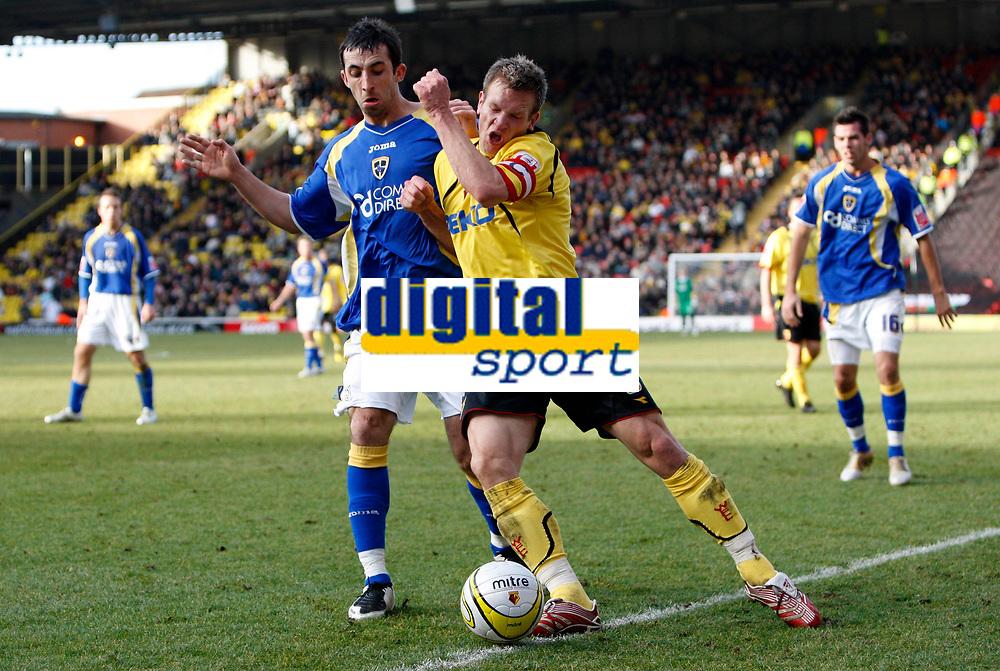 Photo: Richard Lane/Sportsbeat Images.<br />Watford v Cardiff City. Coca Cola Championship. 26/12/2007. <br />Watford's Jay Demerit (rt) is challenged by Cardiff's Tony Capaldi.