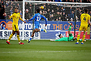 Peterborough United forward Ivan Toney (17) scores the opening goal 1-0 Peterborough during the EFL Sky Bet League 1 match between Peterborough United and Oxford United at London Road, Peterborough, England on 8 December 2018.