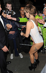 Lady GaGa arriving back at her hotel after performing at the ITunes Festival at the Roundhouse in London, UK. 01/09/2013 <br />BYLINE MUST READ : GOTCHAIMAGES.COM<br /><br />Copyright by © Gotcha Images Ltd. All rights reserved.<br />Usage of this image is conditional upon the acceptance <br />of Gotcha Images Ltd, terms and conditions available at<br />www.gotchaimages.com