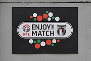 EFL Enjoy the match sign during the EFL Sky Bet League 2 match between Grimsby Town FC and Oldham Athletic at Blundell Park, Grimsby, United Kingdom on 15 September 2018.