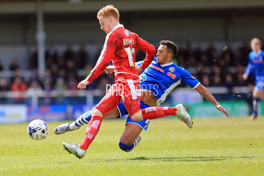 James Brophy, Nathaniel Mendez-Laing during the Sky Bet League 1 match between Rochdale and Swindon Town at Spotland, Rochdale, England on 30 April 2016. Photo by Daniel Youngs.