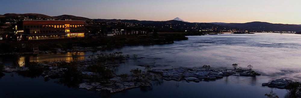 The Water's Edge building with The Dalles and Mt. Hood at sunset.