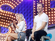 Julianne Hough and Derek Hough appear during the Lip Sync Battle Live at SummerStage in Rumsey Playfield Central Park in New York City, New York on July 13, 2015.