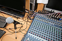 Microphone and sound mixing equipment at television studio