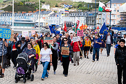 ©Licensed to London News Pictures. Aberystwyth UK,31/08/2019. Over 500 people took part in a march along the seafront in Aberystwyth , Wales today, in protest at the planned 'anti-democratic' 5 week prorogation of parliament in the run-up to the Brexit deadline at the end of October. Similar protest have been taking place in towns and cities across the UK<br /> The protesters were addressed by ELIN JONES, Welsh Assembly member and Speaker of the Welsh Parliament, and BEN LAKE, the local MP. <br /> ELIN JONES announced that she would be recalling the Welsh Assembly next week to give welsh Assembly Members an opportunity to debate this issue.<br /> Photo credit: Keith Morris/LNP