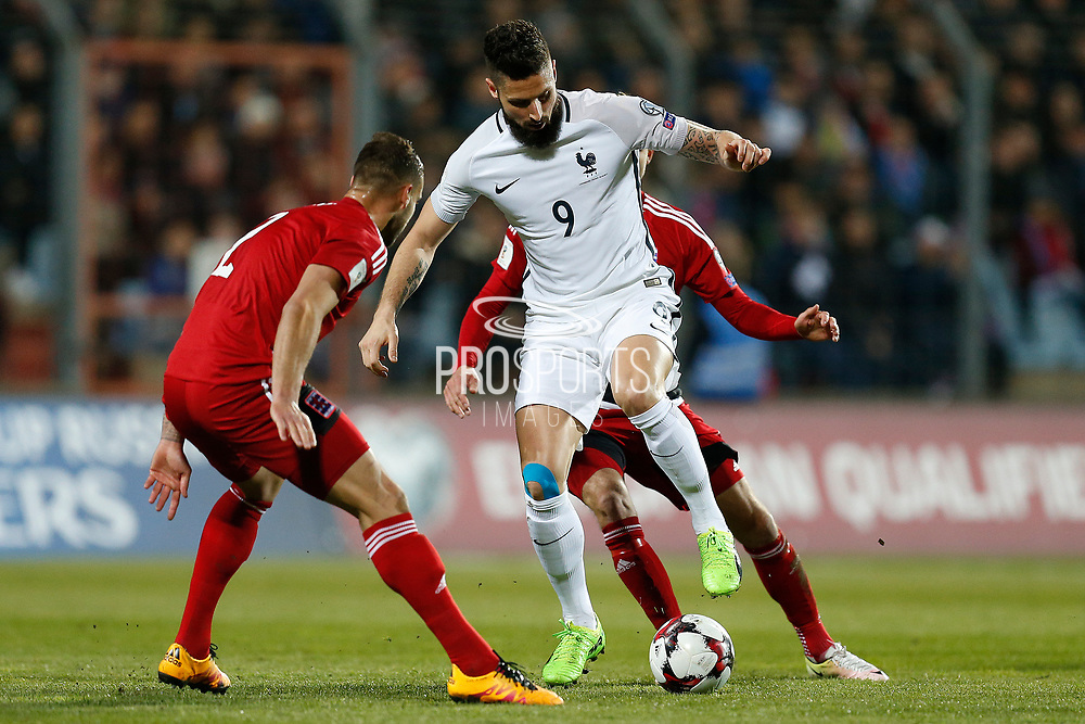 France's forward Olivier Giroud vies during the FIFA World Cup 2018 qualifying football match, Group A, between Luxembourg and France on March 25, 2017 at Josy Barthel stadium in Luxembourg - Photo Benjamin Cremel / ProSportsImages / DPPI