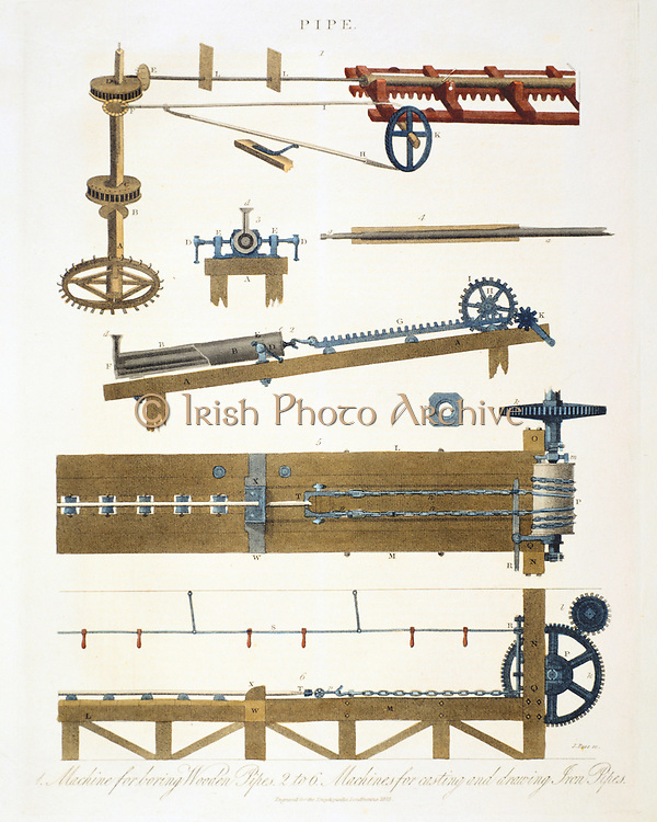 Boring wooden pipes, and casting and drawing iron pipes. At top is a machine for boring wooden pipes.  The rest of the machines are for casting a drawing out iron pipes.  From 'Encyclopaedia Londinensis', (London, c1825).