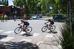 Megan Guarnier (USA) of Team USA leans into a corner on Stage 3 of the Amgen Tour of California - a 70 km road race, starting and finishing in Sacramento on May 19, 2018, in California, United States. (Photo by Balint Hamvas/Velofocus.com)