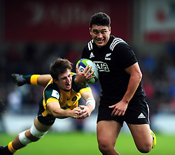 Peter Umaga-Jensen of New Zealand U20 goes on the attack - Mandatory byline: Patrick Khachfe/JMP - 07966 386802 - 25/06/2016 - RUGBY UNION - AJ Bell Stadium - Manchester, England - Australia U20 v New Zealand U20 - World Rugby U20 Championship 2016 5th Place Play-Off.