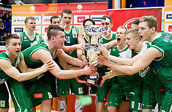 Players of Union Olimpija celebrate after winning the basketball match between KK Union Olimpija and KK Helios Domzale in Final of Spar Cup  2013 on February 10, 2013 in Arena Golovec, Celje, Slovenia. Union Olimpija defeated Helios Domzale 73 - 61 and became Slovenian Cup Champion 2013. (Photo By Vid Ponikvar / Sportida)