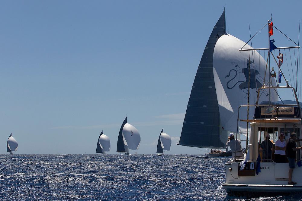 SPAIN, Palma. 19th June 2013. Superyacht Cup. J Class. Race One. Hanuman wins race one. L-R, Velsheda, Lionheart, Ranger, Rainbow and Hanuman.