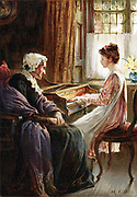 Their Evening Hymn. Chromolithograph after painting by the English artist Margaret Isabel Dicksee (1858-1903) published 1892. Young girl plays keyboard music (harpsichord?) to her aged grandmother.