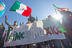 November 18, 2018 - Tijuana, Mexico, demonstrators gathered to protest the arrival of thousands of asylum seekers from Central America, the ''MIgrant Caravan''. ''Primero Mexico'' was a common slogan repeated at the rally. (Credit Image: © Vito Di Stefano/ZUMA Wire)