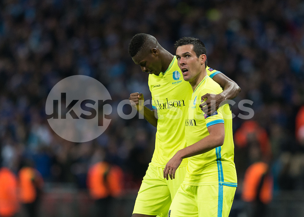 Jérémy Perbet of KAA Gent celebrates scoring with Kalifa Coulibaly of KAA Gent during the UEFA Europa League  Round of 32 Game 2 match between Tottenham Hotspur and Gent at Wembley Stadium, London, England on 23 February 2017. Photo by Vince  Mignott.