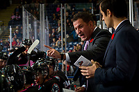 KELOWNA, BC - NOVEMBER 03:  Adam Foote, head coach of the Kelowna Rockets stands on the bench against the Brandon Wheat Kings at Prospera Place on November 3, 2018 in Kelowna, Canada. (Photo by Marissa Baecker/Getty Images) ***Local Caption***Adam Foote;
