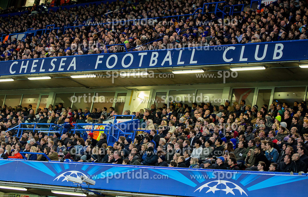 Supporters of Chelsea during football match between Chelsea FC and NK Maribor, SLO in Group G of Group Stage of UEFA Champions League 2014/15, on October 21, 2014 in Stamford Bridge Stadium, London, Great Britain. Photo by Vid Ponikvar / Sportida.com