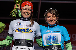 Sheyla Gutierrez and Valentina Scandolara in the U23 and GPM jerseys (respectively) - Grand Prix de Dottignies 2016. A 117km road race starting and finishing in Dottignies, Belgium on April 4th 2016.