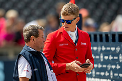 SIMON Hugo (AUT), KUEHNER Max (AUT)<br /> Rotterdam - Europameisterschaft Dressur, Springen und Para-Dressur 2019<br /> Parcoursbesichtigung<br /> Longines FEI Jumping European Championship - 1st part - speed competition against the clock<br /> 1. Runde Zeitspringen<br /> 21. August 2019<br /> © www.sportfotos-lafrentz.de/Stefan Lafrentz