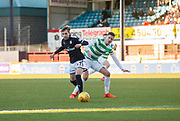 26th December 2017, Dens Park, Dundee, Scotland; Scottish Premier League football, Dundee versus Celtic; Dundee's Jack Lambert and Celtic's Mikael Lustig