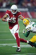 Arizona Cardinals wide receiver Michael Floyd (15) dodges a tackle attempt by Green Bay Packers rookie cornerback Damarious Randall (23) as he looks for yards after a catch on a 9 yard pass completion that gives the Cardinals a first down at the Green Bay Packers 34 yard line on a third down play in the fourth quarter during the NFL NFC Divisional round playoff football game against the Green Bay Packers on Saturday, Jan. 16, 2016 in Glendale, Ariz. The Cardinals won the game in overtime 26-20. (©Paul Anthony Spinelli)